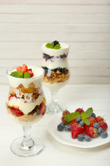 Natural yogurt with fresh berries on wooden table