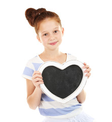Beautiful little girl holding blank poster isolated on white