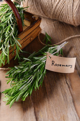Rosemary on table close-up