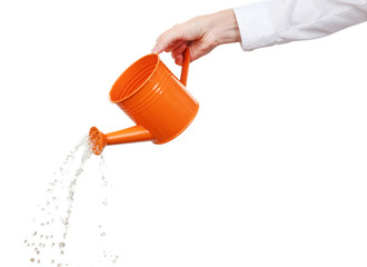 Hand of businesswoman pouring water from watering can isolated