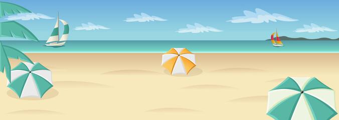 Beautiful tropical beach with blue ocean