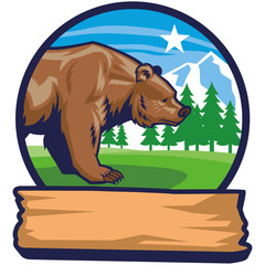 bear mascot with narute background