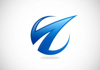 abstract arrow loop finance vector logo