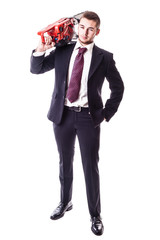 businessman with red chainsaw