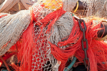Closeup of fishing nets hanging to dry in the sun