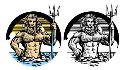 poseidon god in classic pen style