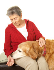 Senior Woman and her Golden Retriever