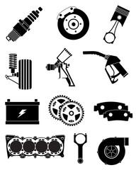 Vehicle parts icons set