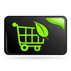 chariot bio sur bouton web rectangle vert