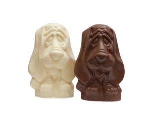 Image of two chocolate Basset Hound figurines