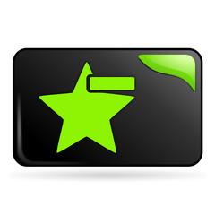 retirer des favoris sur bouton web rectangle vert