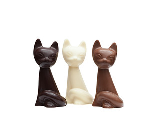 Cute cats made ​​from different kinds of chocolate