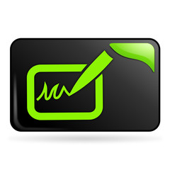 signature sur bouton web rectangle vert