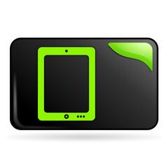 tablette numérique sur bouton web rectangle vert