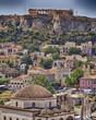 Athens acropolis and Plaka old neighborhood, hdr