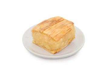 casava grill with syrup isolated on white, Thai dessert