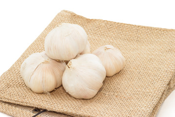 Garlic  heap  on  cloth sack