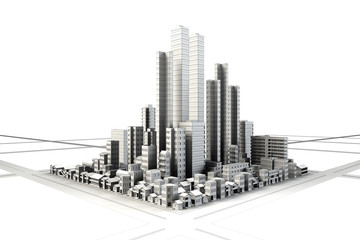 ビル街の線画