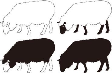 羊 横向き アウトラインセット