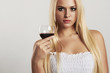 Beautiful blond girl with red wine.sexy young woman with alcohol