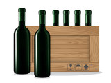 Bottles of wine  and Wooden box