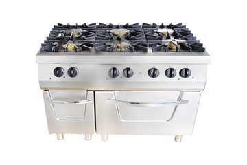 professional gas stove at restaurant