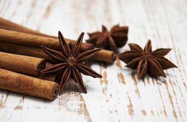 Star anis and cinnamon stick
