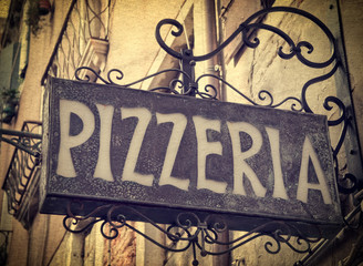 Vintage pizzeria sign in Venice Italy