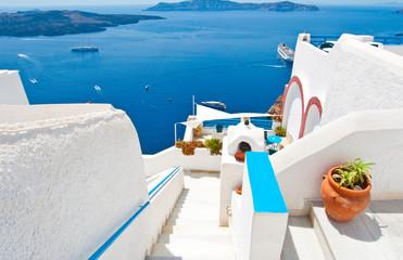 Steps down to the Idyllic patio. Fira,Thera(Santorini), Greece.