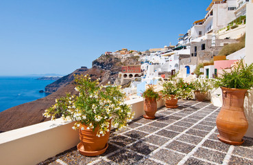 Idyllic patio with flowers in Fira. Thera(Santorini), Greece.