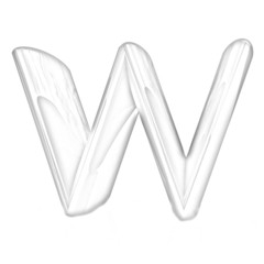 """Alphabet on white background. Letter """"W"""". Pencil drawing"""