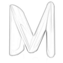 """Alphabet on white background. Letter """"M"""". Pencil drawing"""