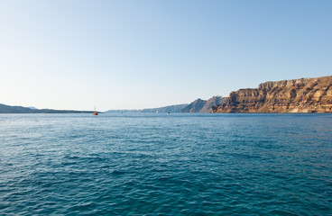 View of the Santorini island from the Thira port. Greece.