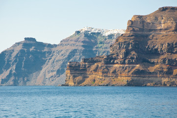 View of the Santorini island from the sea. Greece.