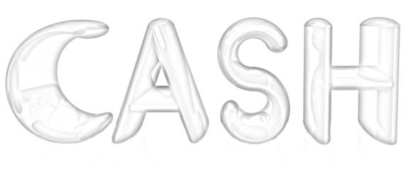 3d illustration of text 'cash'. Pencil drawing