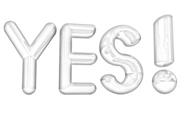 "3d text "" Yes!"". Pencil drawing"
