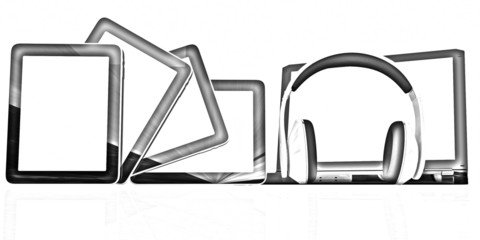 headphones on the  laptop and  tablet pc. Pencil drawing