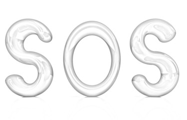 """3d text """"sos"""". Pencil drawing"""