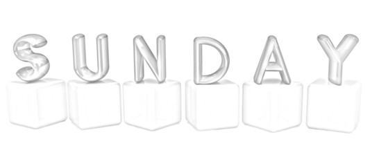"3d letters ""Sunday"" on white cubes. Pencil drawing"