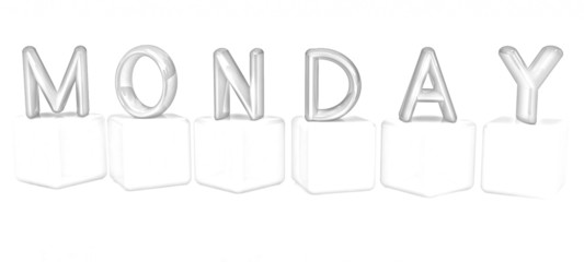 "3d letters ""Monday"" on white cubes. Pencil drawing"