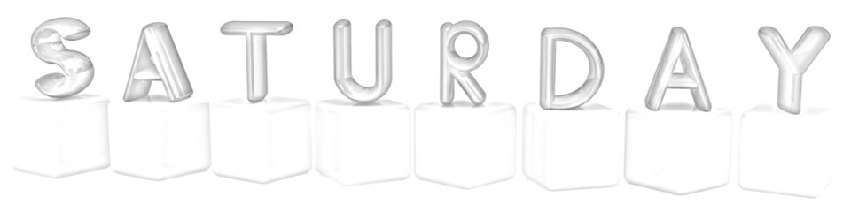 "3d letters ""Saturday"" on white cubes. Pencil drawing"