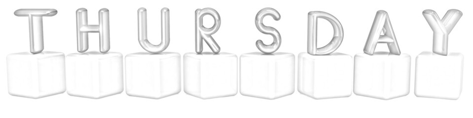 "3d letters ""Thursday"" on white cubes. Pencil drawing"