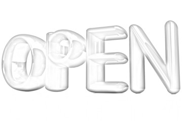 """open"" 3d text. Pencil drawing"