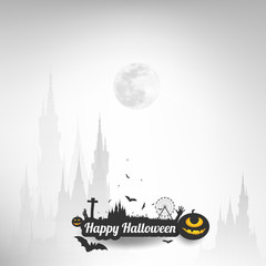 Happy Halloween message design background,Card, vector illustrat