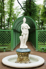 Female antique statue in the Summer Gardens park