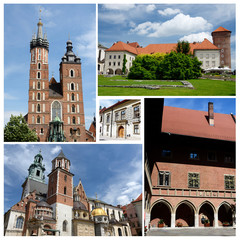 Collage of Krakow famous landmarks,listed as unesco heritage