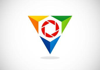 triangle video lens abstract vector logo