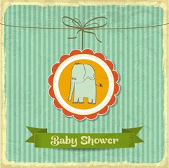 retro baby shower card with little elephant