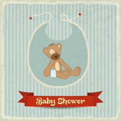 retro baby shower card with teddy bear