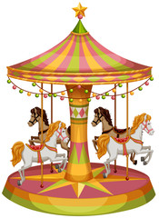 A merry-go-round horse ride